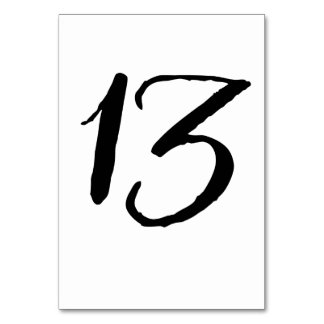 Rustic Black and White Table Number Card - 13 Table Card