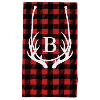 Rustic Black Buffalo Plaid Deer Antlers Initial Small Gift Bag