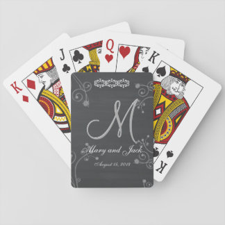 Rustic Black Chalk Chalkboard 3d Monogram Playing Cards