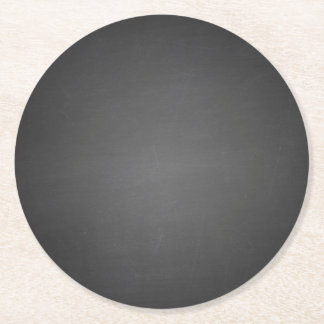 Rustic Black Chalkboard Printed Round Paper Coaster
