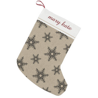 Rustic Black Faux Burlap Snowflake Pattern Small Christmas Stocking