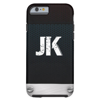 RUSTIC BLACK METAL MONOGRAM WITH NAILS TOUGH iPhone 6 CASE