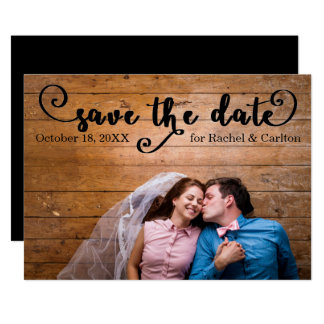 Rustic Black Photo - Save the date Card
