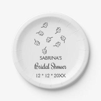 Rustic Black & White Leaf Bridal Shower Leaves Paper Plate