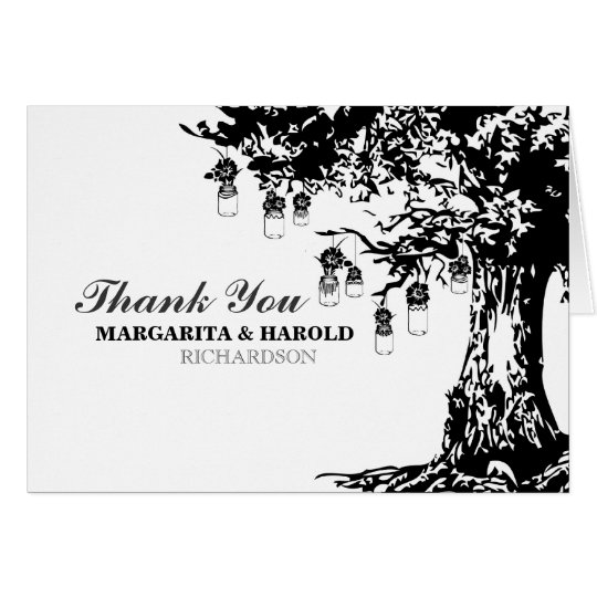 Rustic black white mason jars tree thank you cards