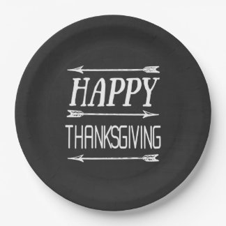 Rustic Blackboard Chalk Text Thanksgiving Plate 9 Inch Paper Plate