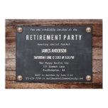 Rustic Blackboard on Wood Retirement Invitation