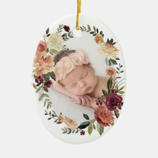 Rustic Bloom First Christmas Photo Christmas Ornament