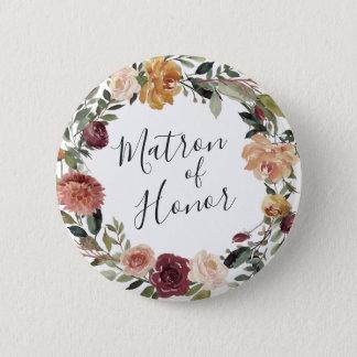 Rustic Bloom Matron of Honor 6 Cm Round Badge