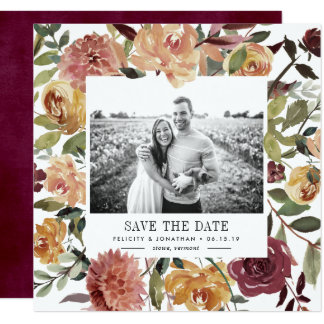 Rustic Bloom Photo Save the Date Card