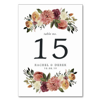Rustic Bloom Table Number Card