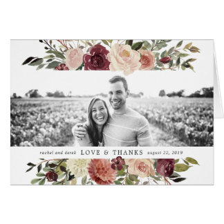 Rustic Bloom Wedding Photo Thank You Card