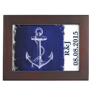 rustic Blue anchor nautical wedding mr and mrs Keepsake Box