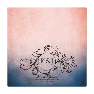Rustic Blue and Pink Bohemian Guest Book Canvas Canvas Prints
