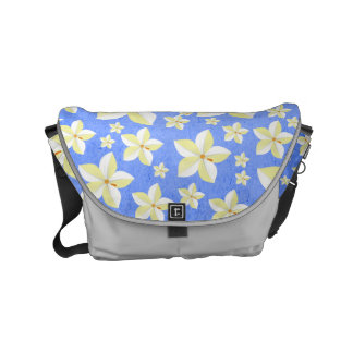 Rustic Blue and White Floral Pattern Messenger Bag