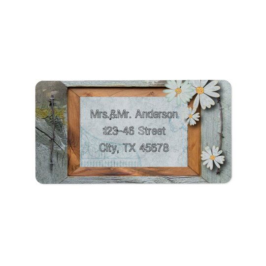 rustic blue barn wood daisy country wedding address label
