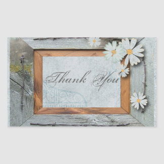 rustic blue barn wood daisy country wedding rectangular sticker