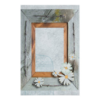 rustic blue barn wood daisy country wedding stationery
