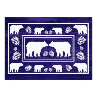 Rustic blue bear double sided custom RSVP cards 13 Cm X 18 Cm Invitation Card