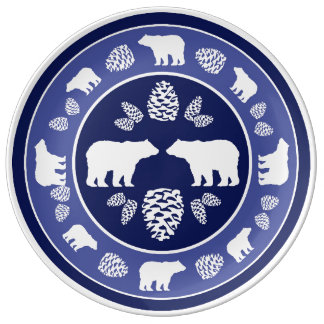 Rustic blue bear pinecone porcelain plate