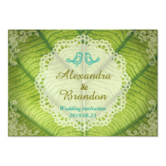 Rustic Blue Bird and Round Lace on Green Leaf Card