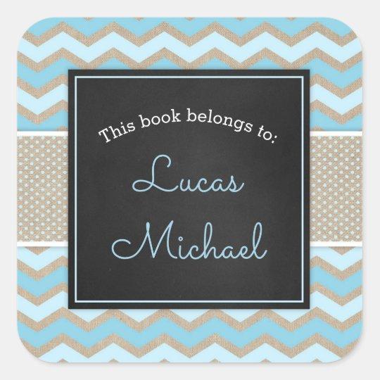Rustic Blue Boy Baby Shower bookplate / book