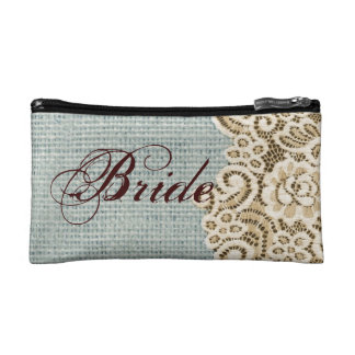 rustic blue burlap beige lace country bride cosmetics bags
