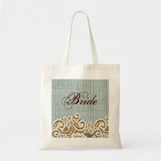 rustic blue burlap beige lace country bride tote bag