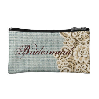 rustic blue burlap beige lace country bridesmaid cosmetics bags