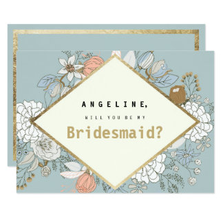 Rustic blue coral faux gold floral Bridesmaid Card