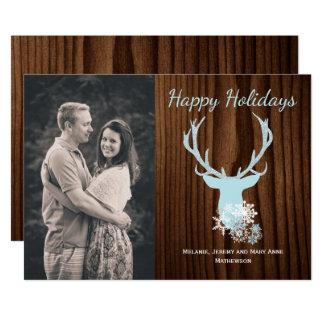 Rustic Blue Deer Head Holiday Greeting Card