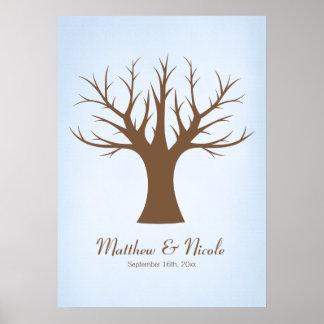 Rustic Blue Fingerprint Tree Wedding Poster