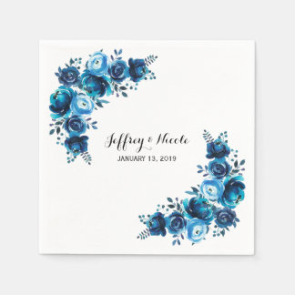 Rustic Blue Floral Country Barn Wedding Paper Napkin
