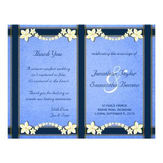 Rustic Blue Floral Wedding Program Templates Flyer