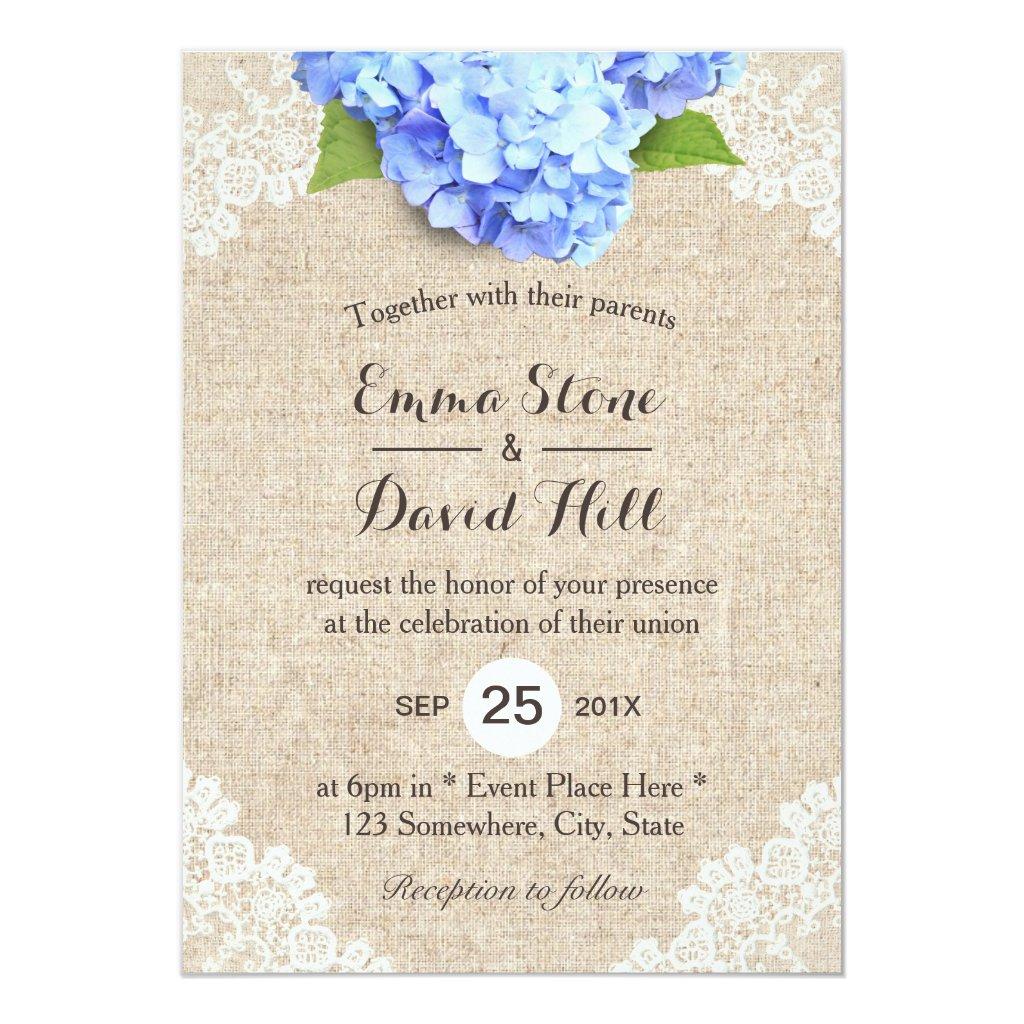 Rustic Blue Hydrangea Floral Lace & Burlap Wedding