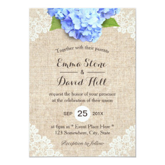 Rustic Blue Hydrangea Floral Lace & Burlap Wedding Card
