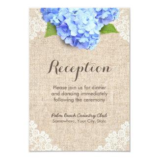 Rustic Blue Hydrangea Lace & Burlap Reception Card