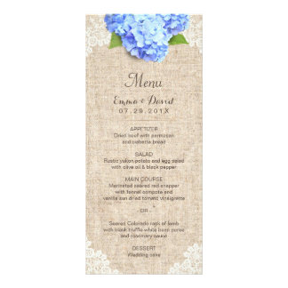 Rustic Blue Hydrangea Lace & Burlap Wedding Menu Custom Rack Cards