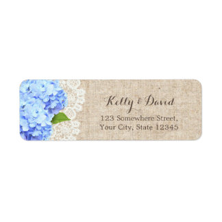 Rustic Blue Hydrangea Lace & Burlap Wedding Return Address Label