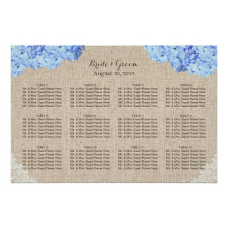 Rustic Blue Hydrangea Lace Burlap Wedding Seating Poster