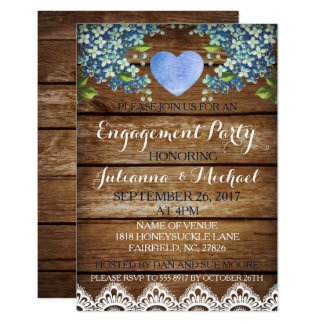 Rustic Blue Hydrangea & Lace Engagement Party Card