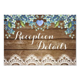 Rustic Blue Hydrangea & Lace Reception Card