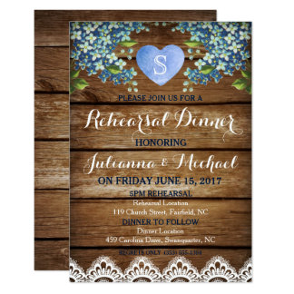 Rustic Blue Hydrangea & Lace Rehearsal Dinner Card