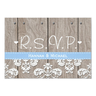 Rustic Blue Hydrangea Wedding RSVP Response Card 9 Cm X 13 Cm Invitation Card