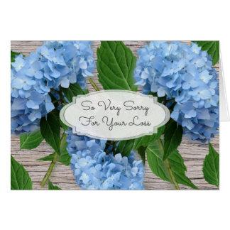 Rustic Blue Hydrangeas Sympathy Message Card