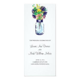 Rustic Blue Mason Jar and Wildflower  Program 10 Cm X 24 Cm Invitation Card