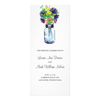 Rustic Blue Mason Jar and Wildflower Program Custom Announcements