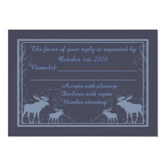 Rustic blue moose swirl custom RSVP cards 13 Cm X 18 Cm Invitation Card