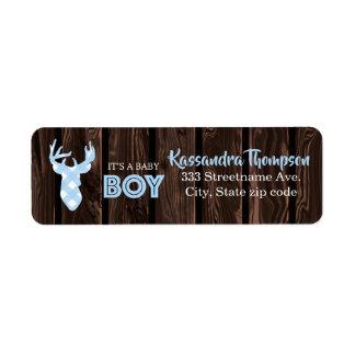 Rustic Blue Plaid Deer It's A Girl Address Label