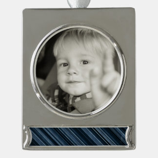 Rustic Blue Stripes Silver Plated Banner Ornament